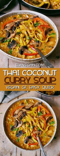 This flavorful Thai Coconut Curry Soup is slightly similar to vegan Tom Kha Gai and can be prepared in 25 minutes Rice Noodles meet veggies in a tasty sweet sour salty an. Thai Curry Soup, Coconut Curry Soup, Thai Soup Vegetarian, Spicy Thai Soup, Rice Recipes For Dinner, Whole Food Recipes, Cooking Recipes, Vegan Soups, Vegetables