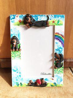 Unique Dachshund decorated photo framepolymer clayacrylic