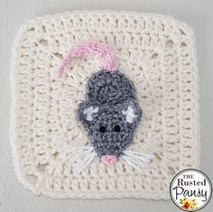 """Here is one of the """"redo's"""" I've been mulling over doing for my afghan. My first mouse applique kinda more resembled a plain ol' rat (nothing against rats, I had them …"""
