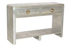Casa Padrino Luxus Designer Aluminium Konsole Mit 2 Schubladen   Art Deco  Vintage Flieger Möbel