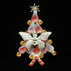 Christmas Tree Pin Butterfly Sabrina Stones Xmas Brooch #Unbranded