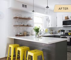 Check out the before - this would be a relatively easy kitchen makeover without having to shell out huge bucks.  Mostly a paint, counter, tile and lighting - she did it all for 6K.