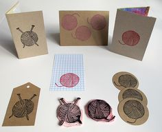 A yarn ball stamp! I've got to get into stamp-carving someday... when I have more storage.