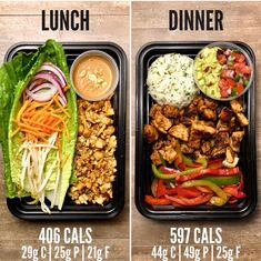 Chicken Lettuce Wraps for Lunch and Chicken Burrito Bowls for dinner. Both recip… Chicken Lettuce Wraps for Lunch and Chicken Burrito Bowls for dinner. Both recipes are from The Meal Prep Manual- Edition eBook. Lunch Meal Prep, Healthy Meal Prep, Healthy Snacks, Healthy Eating, Dinner Healthy, Fitness Meal Prep, Keto Meal, Lunch Recipes, Diet Recipes