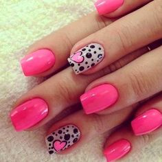 heart nail art - 70 Heart Nail Designs I'd change the hot pink to red but love this design Cute Nail Art Designs, Nail Designs 2017, Heart Nail Designs, Black Nail Designs, Awesome Designs, Pink Nail Art, Nail Art Diy, Diy Nails, Cute Nails