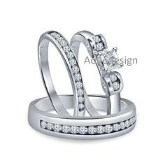 14K White Gold Finish Princess Cut Diamond Ladies Wedding/Anniversary Ring Set #aonedesigns #WeddingAnniversaryEngagementPartyGift