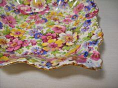 vintage James Kent, Du Barry 5 in square nut dish, floral chintz design, London, England