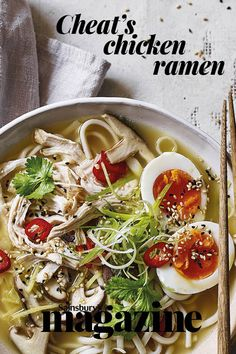 This cheat's chicken ramen recipe is a hearty bowl of comforting flavours, perfect for a chilly evening. Shittake mushrooms are a useful source of vitamin and fibre. Chicken Avocado Pasta, Chicken Ramen Recipe, Easy Chicken Recipes, Ramen Recipes, New Recipes, Easy Recipes, Healthy Recipes, Meal Ideas, Dinner Ideas