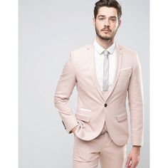 Noose & Monkey Super Skinny Suit Jacket With Piping ($203) ❤ liked on Polyvore featuring men's fashion, men's clothing, pink, tall mens clothing and pink mens clothing