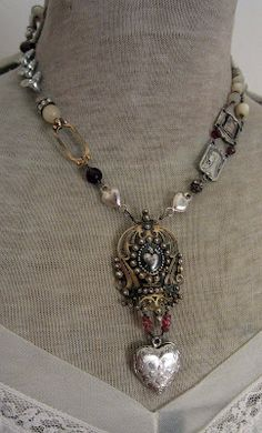 Necklace uses odd pieces, not usually shown. It's very vintage looking. It seems very comfortable to wear, maybe a favorite.
