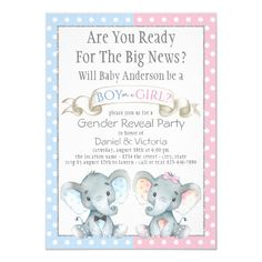 Shop Cute Elephant Gender Reveal Baby Shower Invitation created by The_Baby_Boutique. Gender Reveal Themes, Gender Reveal Party Invitations, Gender Reveal Decorations, Baby Shower Gender Reveal, Baby Gender, Baby Shower Invitations, Invitation Ideas, Invitation Cards, Baby Shower Welcome Sign