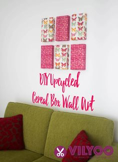 Learn how to upcycle empty cereal boxes or cartons into wall decor that looks like real expensive canvas wall art.