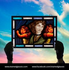 Stained Glass window, 'Holding your Love' Panel, Leaded, Ready to Hang, 250x346mm (13.6x9.75inch), Ref: My Little Angels