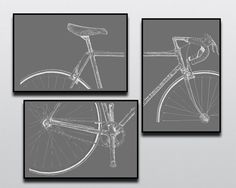 Bicycle Art Print, Bike Art Print, Vintage Campagnolo : 3-Piece Bianchi Art Print Set Chalkboard Edition #cycling #bicycleart #bikeart #bianchi #wallart #campagnolo #art #bicycle