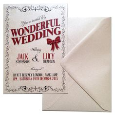 Personalised A Wonderful Wedding Pearlised Christmas Invitations