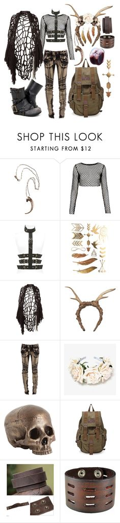 """""""queen"""" by smo-mo ❤ liked on Polyvore featuring Pamela Love, Motel, Giuseppe Zanotti, Wendy Nichol, FAUXTALE, Balmain, NOVICA, Nemesis, grunge and goth"""