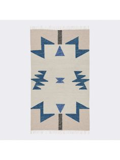 Janessa Kelim Rug, Blue Triangles