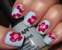 Marias Nail Art and Polish Blog: Fuchsia-red one-stroke's on baby blue