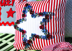 Add instant Fourth of July sparkle to a bench or a bed with these cheery accent pillows. We used an easy-as-pie pattern (McCalls #2450) and decked them out with everything from pre-made felt embellishments, to jingly bells and starry buttons!