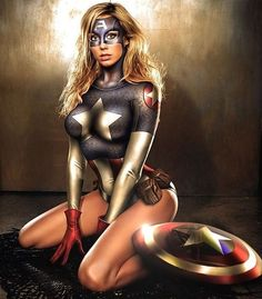 Stacy Keibler as Captain America or Sharon Carter. Marvel Girls, Comics Girls, Marvel Dc, Marvel Comics, Stacy Keibler, Captain America, Batwoman, Comic Book Characters, Comic Books Art