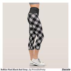 Buffalo Plaid Black And Gray Checkered Pattern Capri Leggings