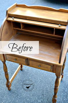 Roll Top Desk with Typewriter is part of Crackle Painted furniture Crafts - I love trying new products Today I'm working on a roll top desk using Miss Mustard Seed Milk Paint in Typewriter and a bonding agent This small r… Desk Makeover, Furniture Makeover, Small Furniture, Painted Furniture, Country Furniture, Upcycled Furniture, Furniture Ideas, Small Roll Top Desk, Refurbished Desk