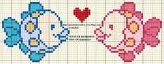 Free cross stitch: Bib - Little fish in love - Creative passion Filet Crochet Charts, Cross Stitch Charts, Cross Stitch Designs, Cross Stitch Patterns, Cross Stitch For Kids, Cross Stitch Animals, Blackwork Embroidery, Cross Stitch Embroidery, Loom Beading