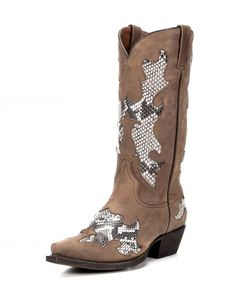 Women's Temptation Snake Print Cowgirl Boot – Aged Brown