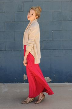 Open front cardigan and maxi skirt