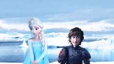 Adorable gif of Hiccup and Elsa. I never would have thought of them together, but I love how the person edited this.