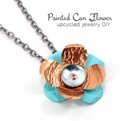 Here is a cool Mother's Day gift idea.  This gorgeous flower pendant is made from an aluminum can and a copper rivet joining the 3 layers.  It really couldn't be simpler or less expensive.  Mom will love it's uniqueness.  You can paint it to suit her tastes and she will have a heartfelt,