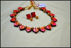 """Terracotta necklace set. CODE: IMB010 """"There is beauty in simplicity!"""" :) Color inspirations - A butterfly!"""