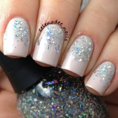 Orly Decades of Dysfunction, glitter gradient of China Glaze Glistening Snow and Finger Paints Santa's Magic. Instagram photo by @selenadee_nails via ink361.com