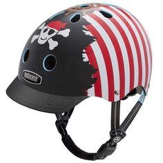 Sale: Nutcase's Little Nutty Ahoy! Helmet a great helmet for kids! It features a cool pirate design and a treasure map. Available at Bike Attack Santa Monica, Playa Vista, Culver City, Los Angeles. Street Bike Helmets, Dirt Bike Helmets, Bicycle Helmet, Riding Helmets, Agv Helmets, Kids Helmets, Skateboard Helmet, Adventure Outfit, Cool Skateboards