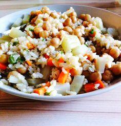rijst, venkel, wortel, kikkererwten