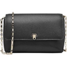 Valextra City Crossbody Shoulder Bag ($1,105) ❤ liked on Polyvore featuring bags, handbags, shoulder bags, black, black shoulder bag, leather crossbody, black cross body purse, black leather purse and crossbody purse
