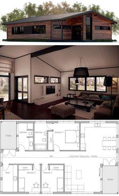 Small House Plan, Home Plan, House design Dream House Plans, Modern House Plans, Small House Plans, House Floor Plans, Building Design, Building A House, Small House Interior Design, Container House Plans, Prefab Homes