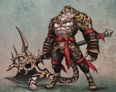 THAT is a powerfully built tiger warrior. I would not want to confront him in battle...unless he's there to rescue me. He is so handsome that I wouldn't mind being in his well muscled arms.