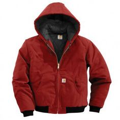 Carhartt Men's Quilted-Flannel-Lined Duck Active Jacket - Red - J140-RED Profile