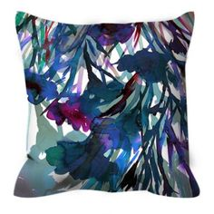 PETALS IN MOTION 2 Blue Flowers Watercolor Suede Throw Pillow Cushion Cover, #floral #floralpillow #flowers #watercolor #homedecor #decor #bluepillow #blue #indigo #teal #ebiemporium #decoration #decorative #garden #modernhome #home #interiors #style #suede #musthave