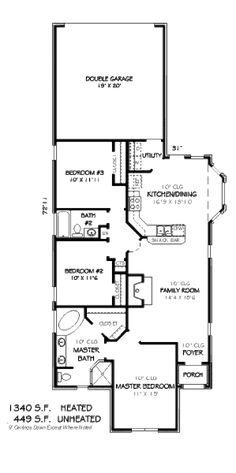 European Style House Plan - 3 Beds 2 Baths 1340 Sq/Ft Plan #424-41 Floor Plan - Main Floor Plan - Houseplans.com