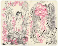 James Jean - Mole E.    http://www.jamesjean.com/sketch/2010/Mole+E/13