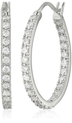 "Platinum Plated Sterling Silver Round Prong-Set Cubic Zirconia Hoop Earrings (0.9"" Diameter) (2.2 cttw)"