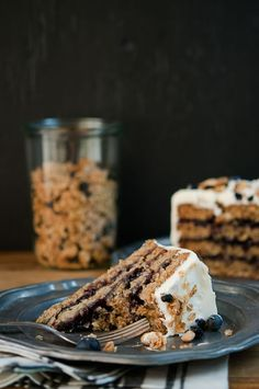 Blueberry Almond Granola Cake