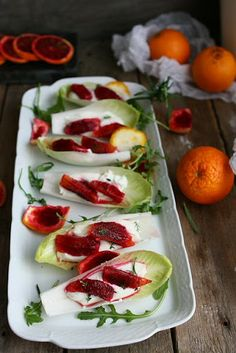 Belgian Endive Salad with Blood Oranges and Goat Cheese / Angie's Recipes Belgian Endive, Endive Recipes, Brunch, Specialty Foods, Goat Cheese, Cheese Food, Blue Cheese, Easy Salads, Gastronomia
