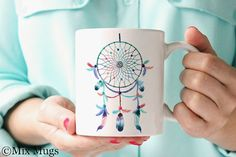 Unique Coffee Mugs, Pretty Cute Mug, Boho Mug, Tribal Mug, Dreamcatcher Mug, Coffee Mugs for Her, Gift for Women, Tea Mug, Ceramic Mug (a11)