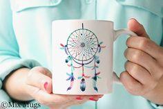 Unique Coffee Mugs, Pretty Cute Mug, Boho Mug, Tribal Mug, Dreamcatcher Mug, Coffee Mugs for Her, Gift for Women, Tea Mug, Ceramic Mug (a11)