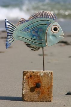 Jane James - Ceramic Fish on Drift Wood Base