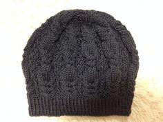 縄編みベレー帽