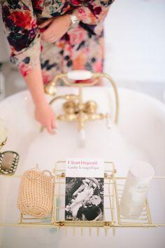 Gold tub + bubble bath